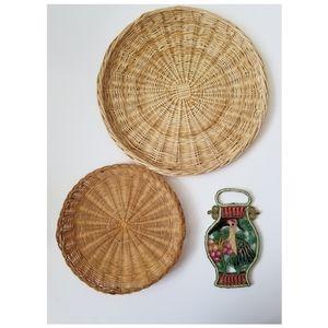 Vintage Handmade Woven Wicker Wall Art or Kitchen
